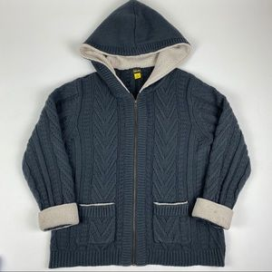 Cabelas Womans Full Zip Gray Hooded Pocket Sweater